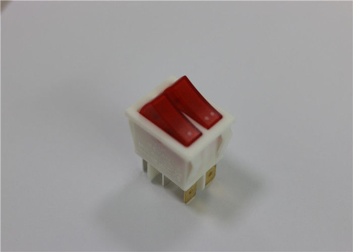Mini 4/6 Pins Red Illuminated Rocker Switch , Waterproof Led Rocker Switch